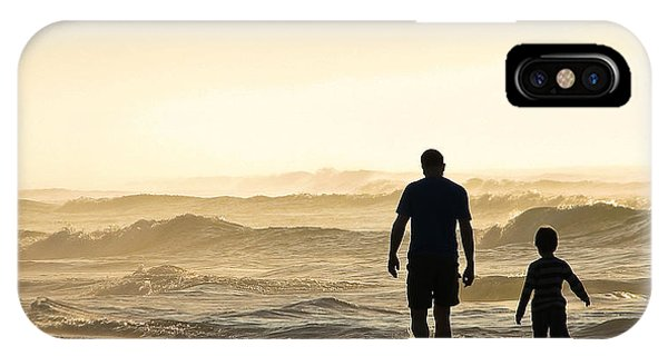 Silhouetted Father And Son Walk Beach  IPhone Case