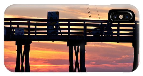 Silhouetted Fisherman On Ocean Pier At Sunrise IPhone Case