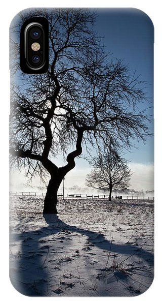 Silhouetted Tree In Winter Phone Case by Jim West