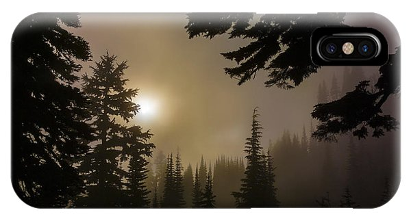 Silhouettes Of Trees On Mt Rainier II IPhone Case