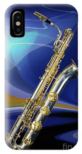 Silver Baritone Saxophone Photograph In Color 3459.02 IPhone Case