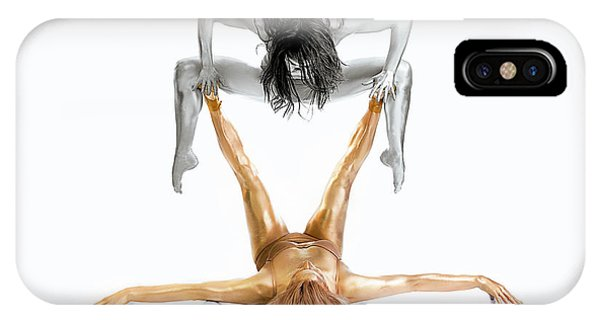 Pose iPhone Case - Silver On Gold - Gymnast Series by Howard Ashton-jones