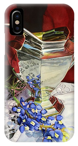 Bloom iPhone Case - Silver Pitcher And Bluebonnet by Hailey E Herrera