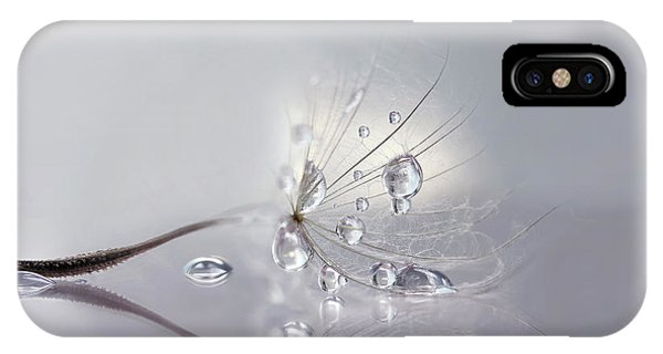 Water Droplets iPhone Case - Silver by Rina Barbieri