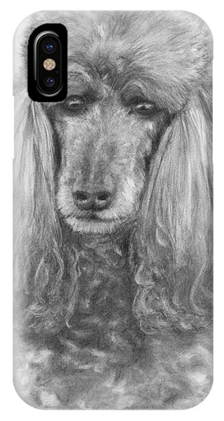 Silver Standard Poodle Drawing IPhone Case