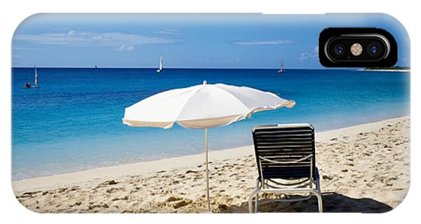 St. Maarten iPhone Case - Single Beach Chair And Umbrella On by Panoramic Images