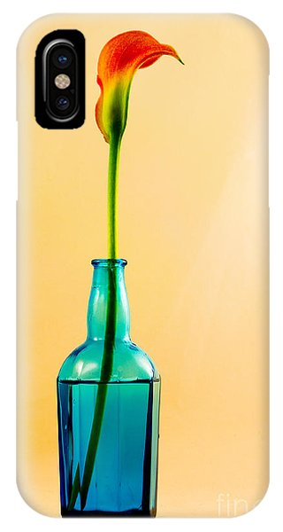 Single Calla In Blue Bottle IPhone Case