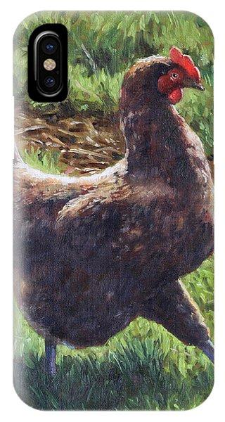 Single Chicken Walking Around On Grass IPhone Case
