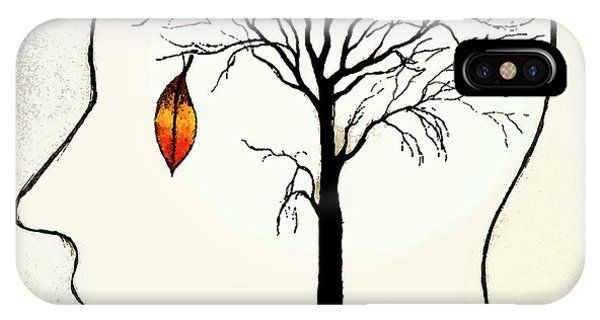 Anguish iPhone Case - Single Leaf Hanging On Barren Tree by Ikon Ikon Images