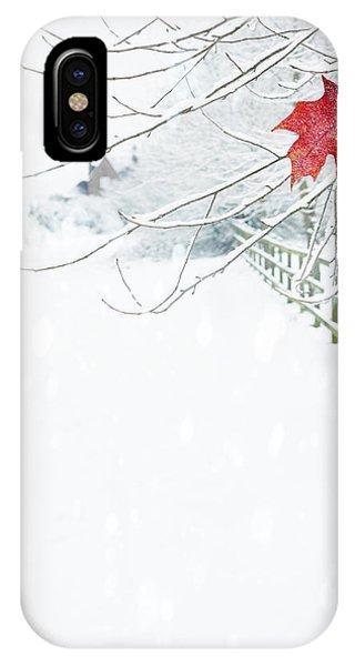 White Fence iPhone Case - Single Red Leaf by Amanda Elwell