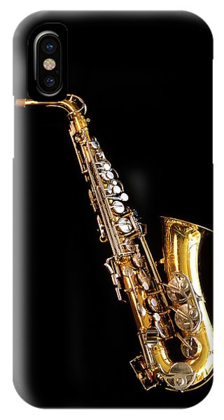 Silver And Gold iPhone Case - Single Saxophone Against Black by Vintage Images