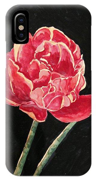 Single Tulip On Black Background IPhone Case