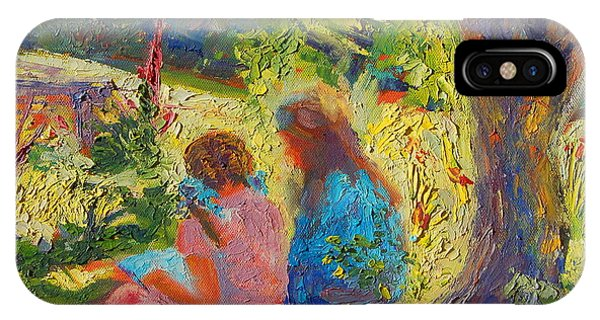 Sisters Reading Under Oak Tree IPhone Case