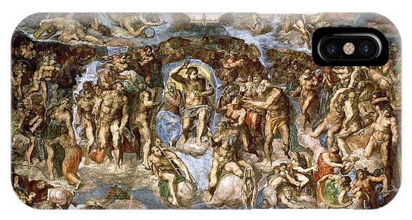 New Testament iPhone Case - Sistine Chapel The Last Judgement, 1538-41 Fresco Pre-restoration by Michelangelo Buonarroti