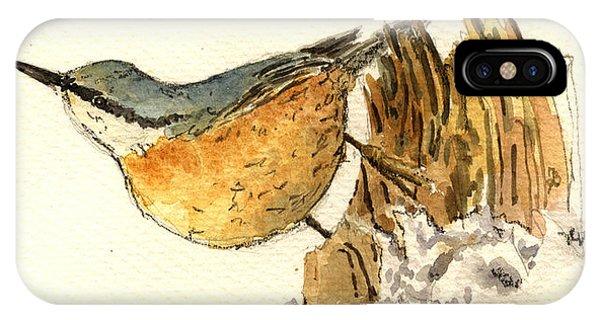 Cute Bird iPhone Case - Sitta Europaea by Juan  Bosco