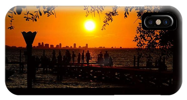 Tiki Bar iPhone Case - Sitting On The Dock Watching The Sunset by Pamela Blizzard
