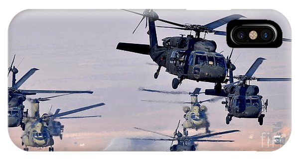 Six Uh-60l Black Hawks And Two Ch-47f Chinooks IPhone Case
