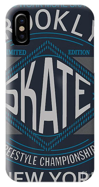 Textile Design iPhone Case - Skate Board Typography, T-shirt by Braingraph