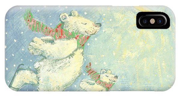 Ice iPhone Case - Skating Polar Bears by David Cooke