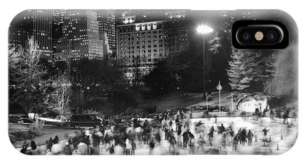 New York City - Skating Rink - Monochrome IPhone Case