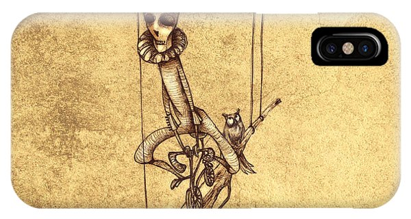 Strange iPhone Case - Skeleton On Cycle by Autogiro Illustration