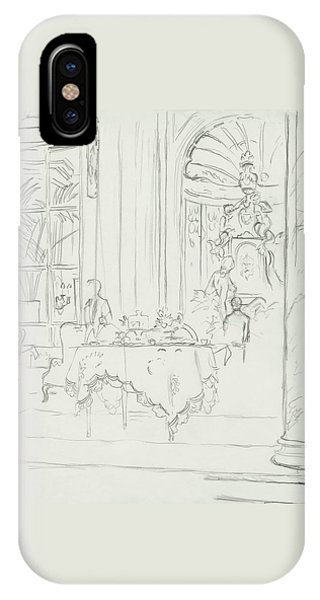 Sketch Of A Formal Dining Room IPhone Case