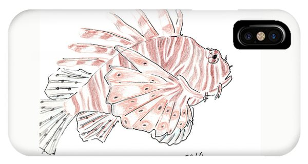 Sketch Of Lion Fish At London Aquarium IPhone Case