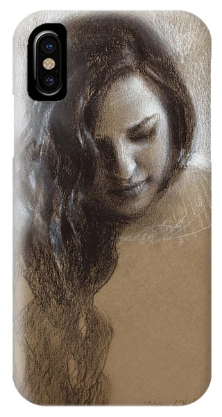 Pastel Pencil iPhone Case - Sketch Of Samantha by Karen Whitworth