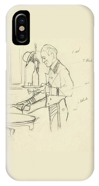 Sketch Of Waiter Pouring Wine IPhone Case