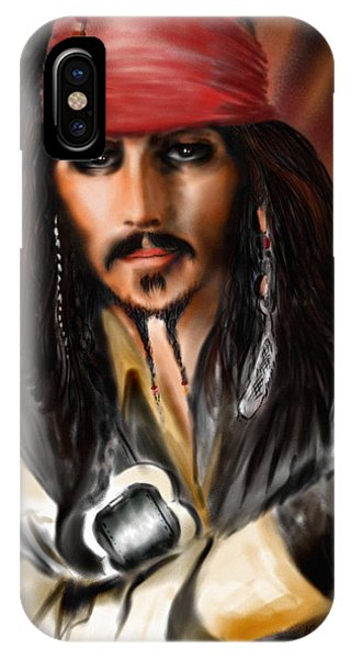 Orlando Bloom iPhone Case - Sketching A Pirate... by Alessandro Della Pietra