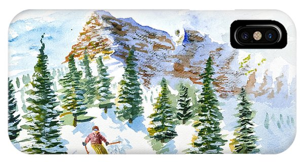 Skier In The Trees IPhone Case