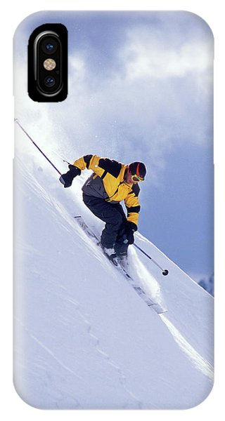 Colombia iPhone Case - Skier On Powder Slope by Derek Frankowski