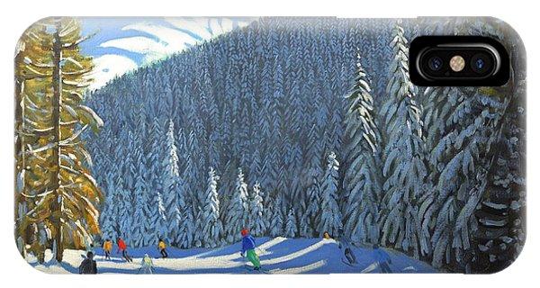 Mountainous iPhone Case - Skiing  Beauregard La Clusaz by Andrew Macara