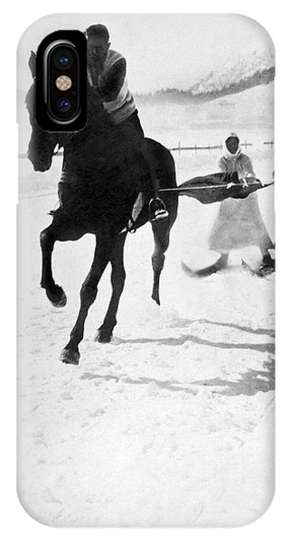1895 iPhone Case - Skijoring In Germany by Underwood Archives