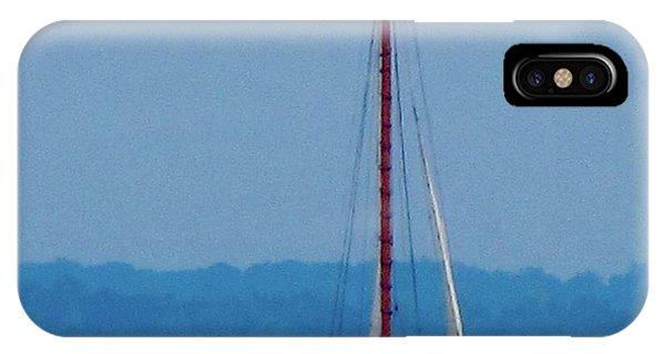 Skipjack Mast Lowering On The Bay Phone Case by Debbie Nester