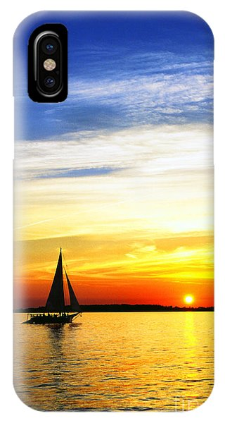 Skipjack Under Full Sail At Sunset IPhone Case