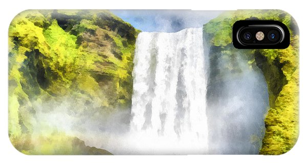 Skogafoss Waterfall Iceland Painting Aquarell Watercolor IPhone Case