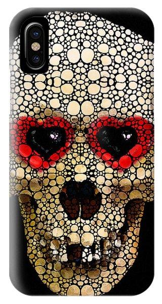 Strange iPhone Case - Skull Art - Day Of The Dead 3 Stone Rock'd by Sharon Cummings