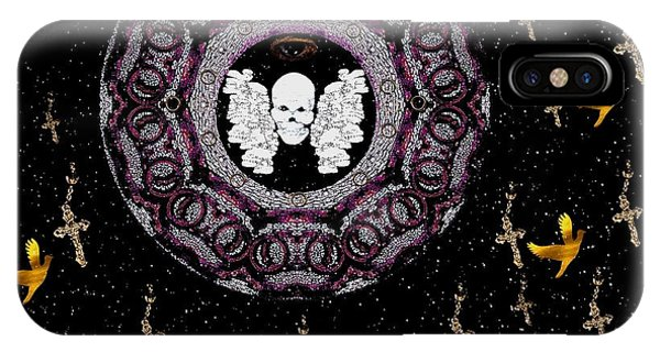 Bone iPhone Case - Skull Night In Peace by Pepita Selles