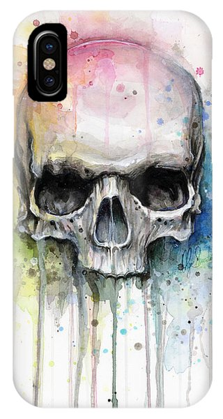 Mixed-media iPhone Case - Skull Watercolor Painting by Olga Shvartsur