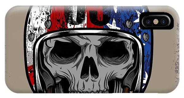 Engraving iPhone Case - Skull With Retro Helmet And American by Ixies