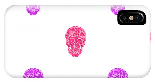 Violet iPhone Case - Skulls With Ornament On White by Aksanav