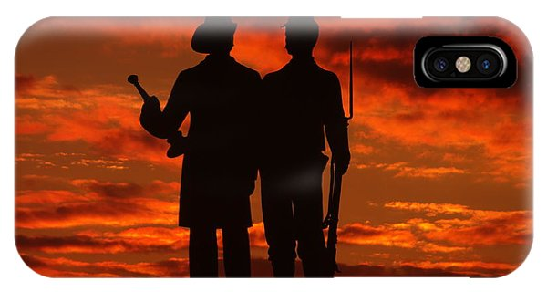 Department Of The Army iPhone Case - Sky Fire - 73rd Ny Infantry Fourth Excelsior Second Fire Zouaves-a1 Sunrise Autumn Gettysburg by Michael Mazaika