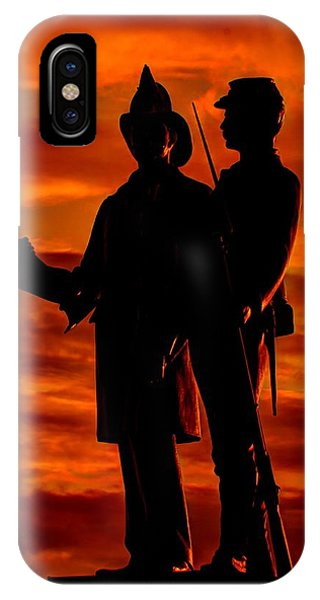 Department Of The Army iPhone Case - Sky Fire - 73rd Ny Infantry Fourth Excelsior Second Fire Zouaves-b1 Sunrise Autumn Gettysburg by Michael Mazaika