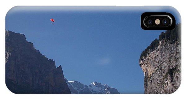 Skydiver Over Lauterbrunnen IPhone Case