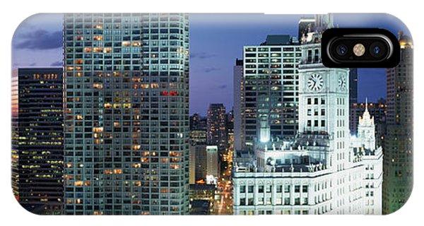 Skyscraper Lit Up At Night In A City IPhone Case
