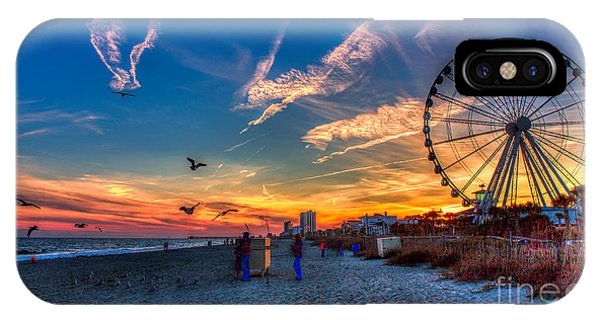 Skywheel Sunset At Myrtle Beach IPhone Case