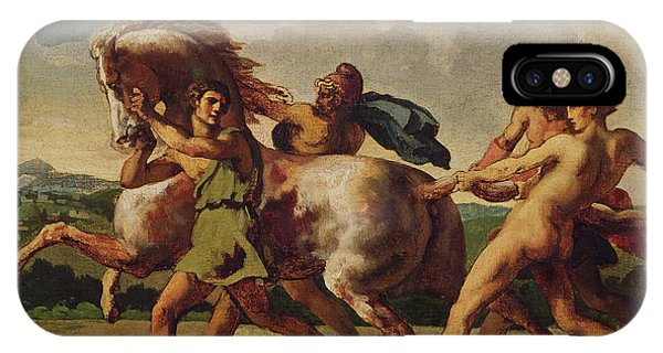 Struggle iPhone Case - Slaves Stopping A Horse, Study For The Race Of The Barbarian Horses, 1817 Oil On Canvas by Theodore Gericault