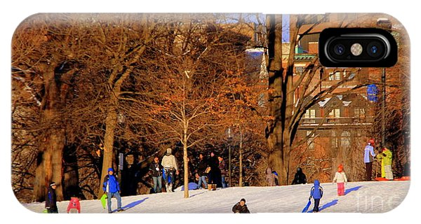 Sledding On Boston Common IPhone Case