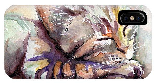 Watercolor Pet Portraits iPhone Case - Sleeping Kitten by Olga Shvartsur